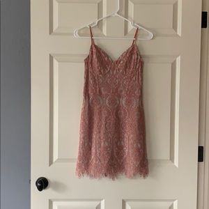 Fitted pink lace dress